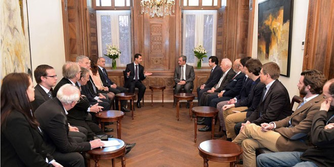 President al-Assad-French delegation 1
