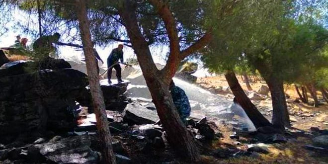 A fire erupted in Salamyia northwestern countryside extinguished