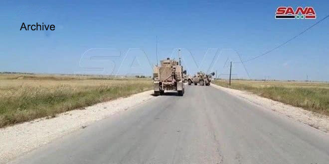 US occupation forces bring in convoy of vehicles into al-Rmelan city,Hasaka countryside
