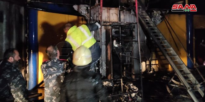 Fire that erupted in new Sham petrol station on al-Faiha Road fully extinguished