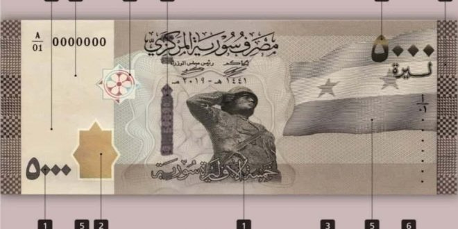 CBS releases a new Syrian 5,000-pound banknote