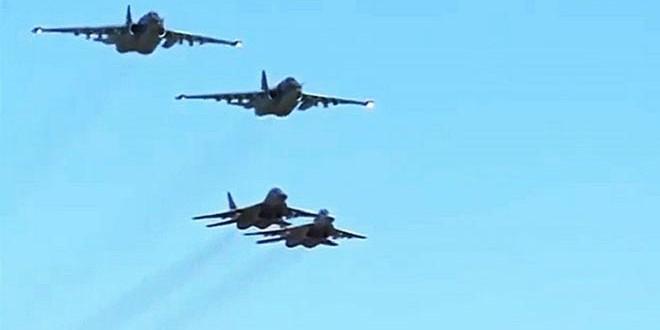 aviones de combate sirios y rusos