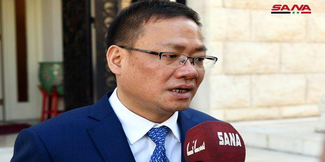 Embajador chino en Damasco agradece a Siria por su solidaridad y apoyo para enfrentar el coronavirus