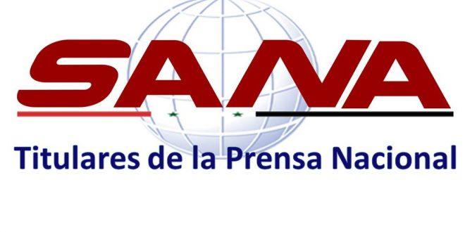 Titulares nacionales e internacionales de los medios de prensa sirios