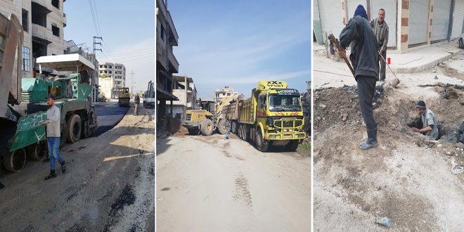 Reconstruyen dos sedes de instituciones estatales afectadas por el terrorismo en Dareya/Damasco