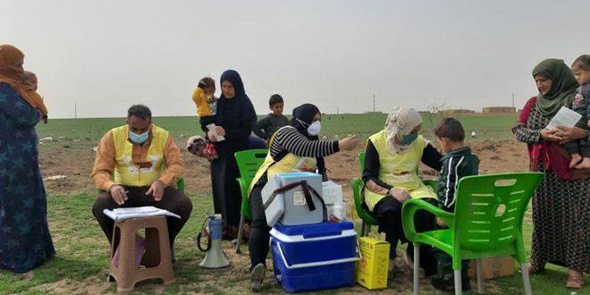 La campaña nacional de vacunación llega a lugares remotos de Hasakeh