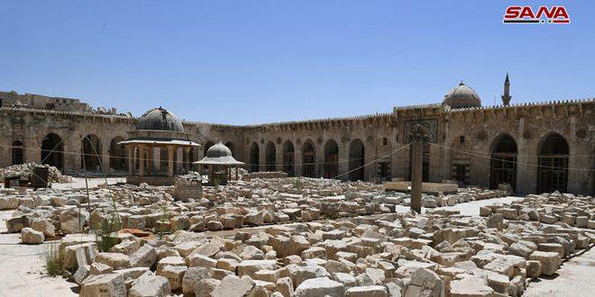 Les équipes d'architectes continuent la restauration de la mosquée des Omeyyades à Alep