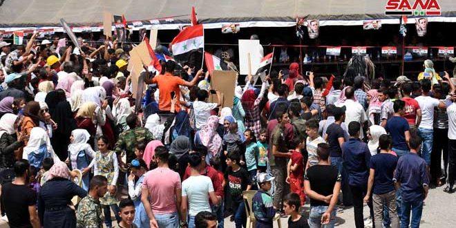Митинг в Ар-Растане провинции Хомс по случаю первой годовщины освобождения от терроризма