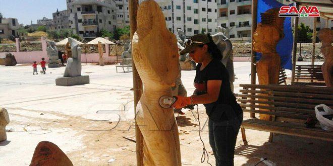 В городе Сувейда проходит 3-я Выставка деревянных скульптур