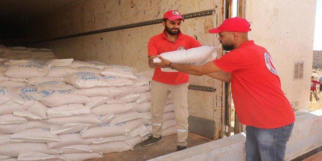 В провинцию Дараа Отделение Сирийского общества Красного Полумесяца доставило новую партию продовольственной помощи