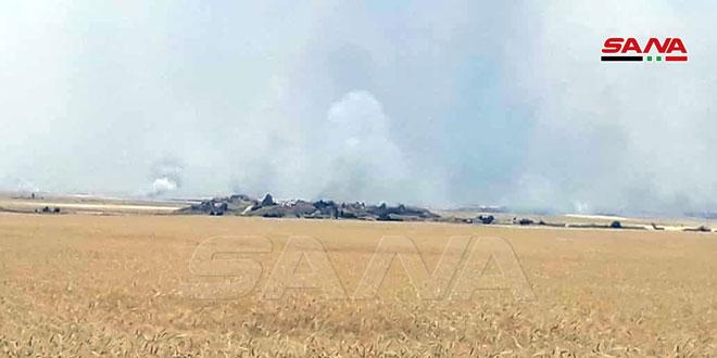 В окрестностях Тель-Тамра и Абу-Расейна наемники турецких оккупантов подожгли большие площади полей