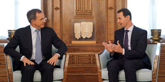 Cumhurbaşkanı Beşşar el Esad bugün Avrupa Parlamentosu üyesi Thierry Mariani başkanlığındaki Fransız Ulusal Kompleks Partisinden bir heyeti kabul ediyor