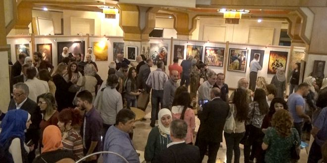 """Paintings with hallmarks of Syrian and Arab artists at """"Candles of Peace 4″exhibition"""