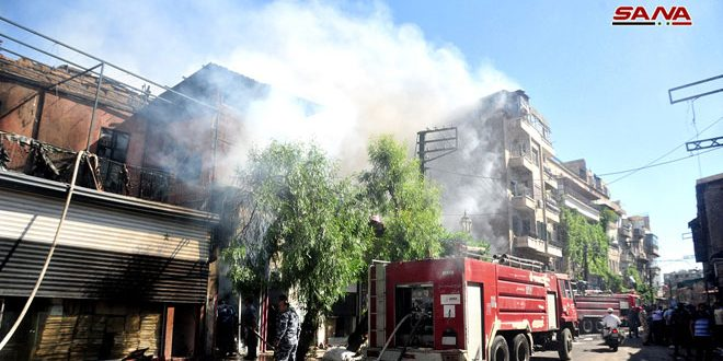 Damascus Fire Department extinguishes fire in al-Amara neighborhood in Damascus