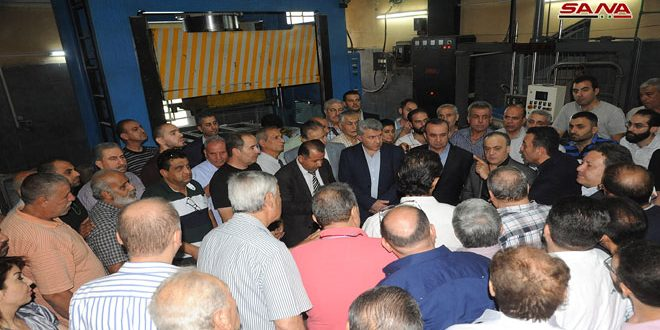 Ministerial delegation inspects industrial areas in Damascus Countryside