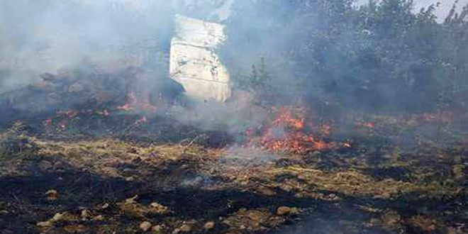 Terrorists set fire once again to farmlands in vicinity of Hadar village in Quneitra