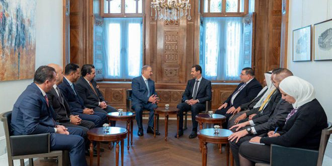 President al-Assad to Jordanian parliamentary delegation: Relations between countries must always be driven by peoples' interests and aspirations