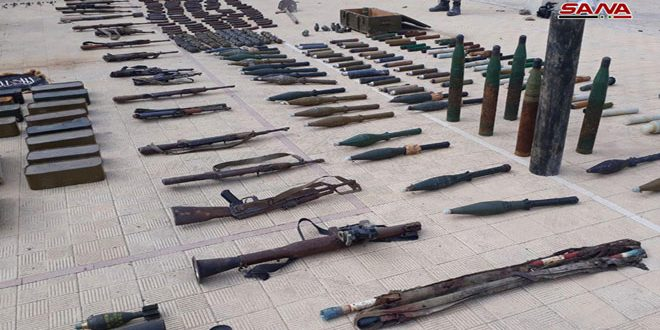Weapons, ammo of terrorists' remnants found in Barza neighborhood, Damascus