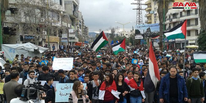 Stands held in protest against Trump's decision on occupied Golan across Syrian provinces