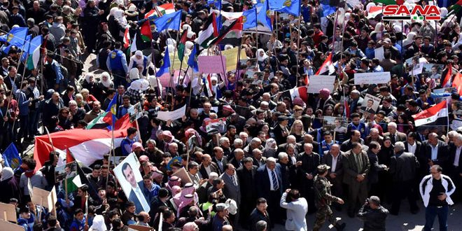 Protests held across Syrian provinces against Trump's decision on occupied Golan