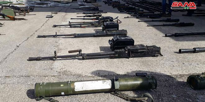 Authorities find different sorts of weapons left behind terrorists in Homs
