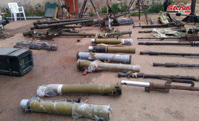 US-made, Israeli-made weapons left by terrorists found in Daraa