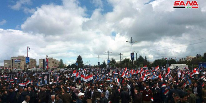 Celebration in al-Baath City marking 73rd anniversary of evacuation of French colonialism