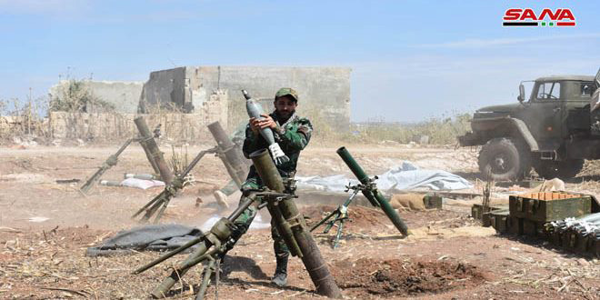 Army responds to terrorists' breaches, foils their attack on safe areas in Hama countryside