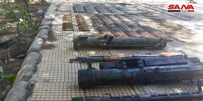 Weapons, ammos left behind by terrorists found in Damascus Countryside