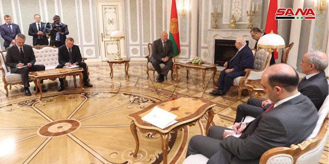 President Lukashenko receives al-Moallem, stresses support to Syria in the war against terrorism