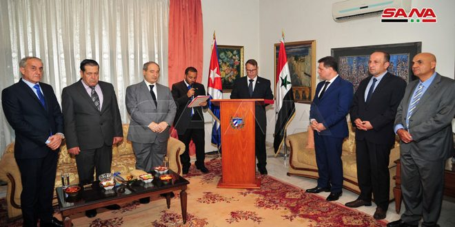 Cuban Embassy holds reception on occasion of 54th anniversary of establishing diplomatic relations with Syria