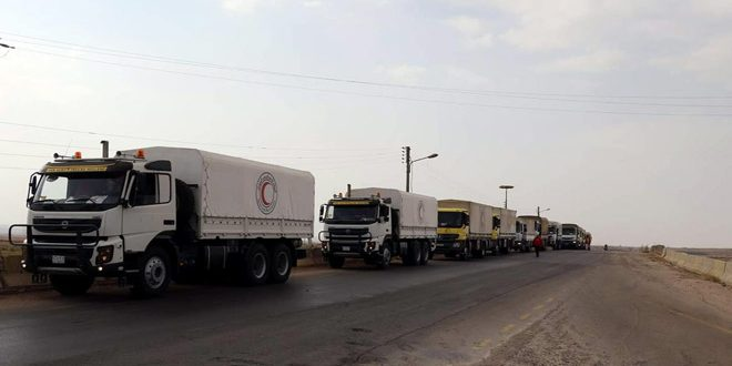 New batch of food aid to be distributed among locals of Sheikh Miskin in Daraa countryside