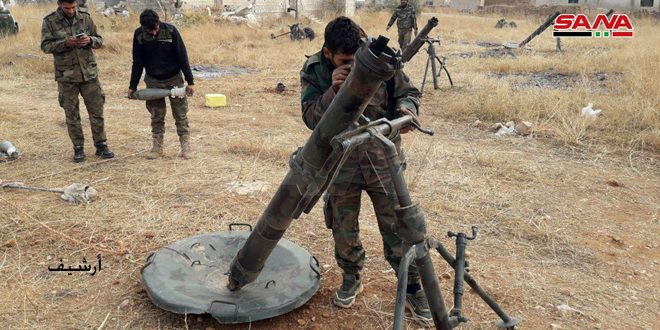 Army units target terrorists' positions in Aleppo's southwestern countryside