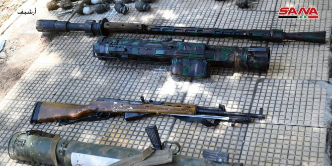 Weapons, ammunition left by terrorists found in Yalda town, Damascus Countryside