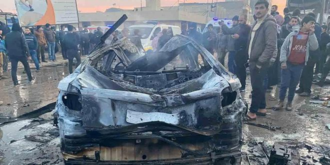 Eight civilians martyred, 20 injured due to car bomb blast in A'zaz city in Aleppo countryside