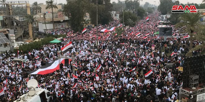 Huge crowds in Baghdad call for the ouster of US forces from Iraq