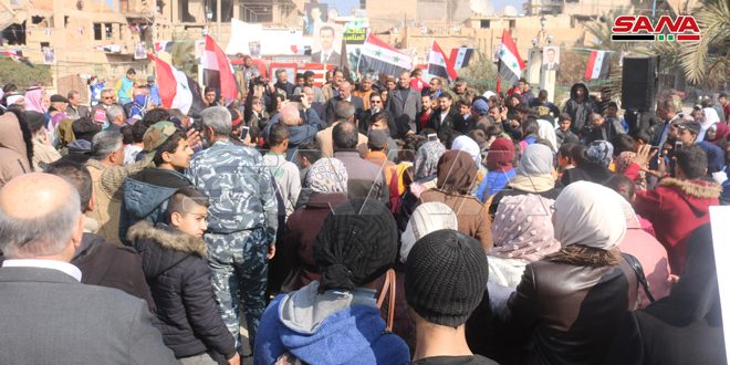 Popular gathering in Deir Ezzor celebrating victories of the Syrian Army