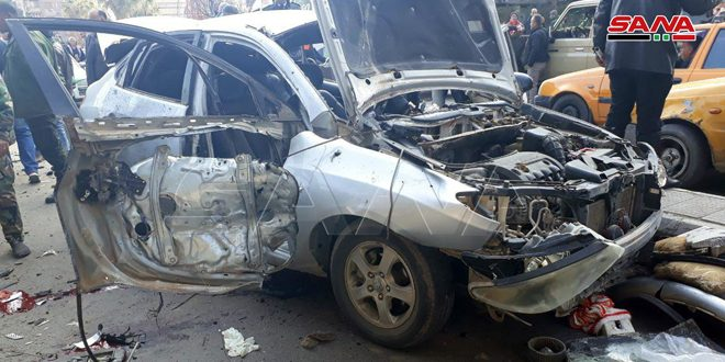 Five civilians injured in explosion of IED in car in Bab Musalla, Damascus