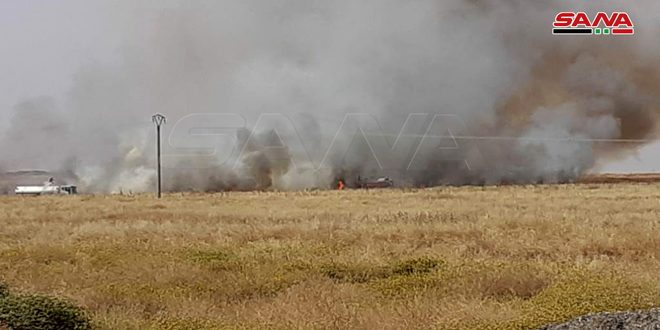 The fires affected almost 7000 hectares of wheat and barley fields in Hasaka