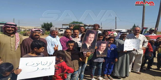 National stand in Qamishli countryside against US and Turkish occupation forces