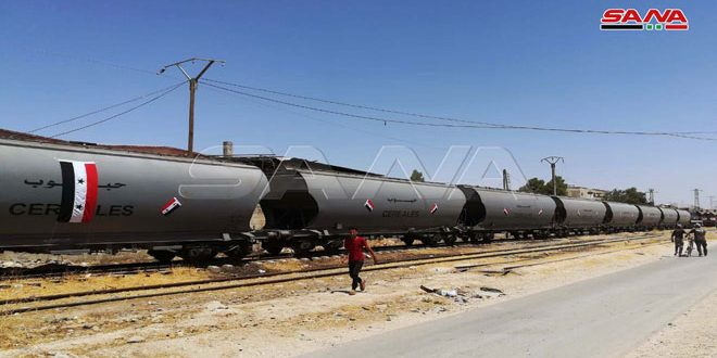 First grain-carrying train arrives in Sbained silos, Damascus countryside coming from Tartous port