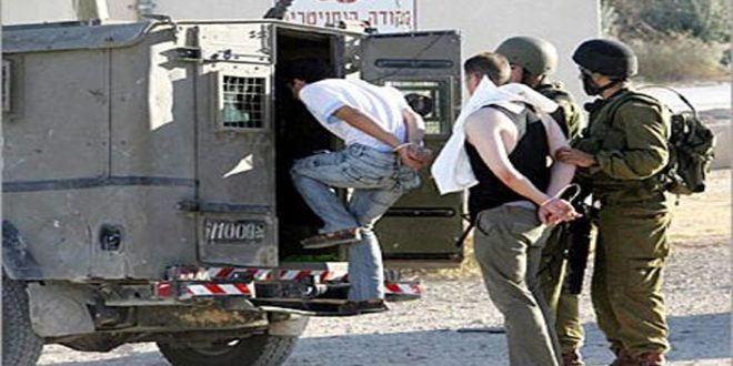 Israeli occupation forces arrest nine Palestinians in the West Bank