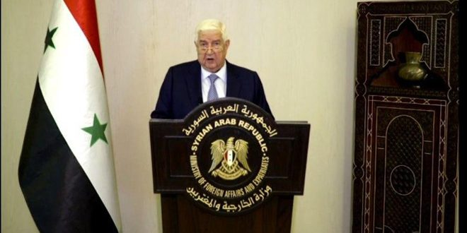 "Al-Moallem: So-called ""Caesar Act"" targets Syrians in their livelihood… Syria will spare no effort to end US and Turkish occupation"