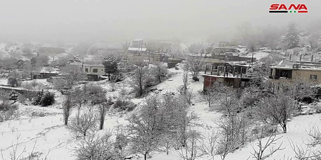 Snow in al-Khamila village in Slenfah district, Lattakia countryside