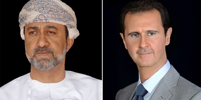 President al-Assad receives two cables of congratulation from Sultan of Oman, Mauritanian President on the Evacuation Day