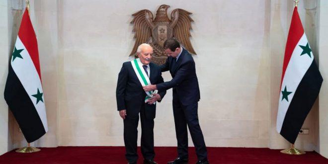 President al-Assad awards General Aslan Syrian Order of Merit of excellent degree