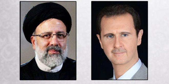 President al-Assad congratulates Iranian President Ebrahim Raisi on winning Presidential election