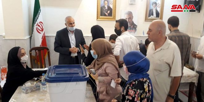 Iranians in Syria cast  their votes in presidential election at  the Iranian Embassy in Damascus