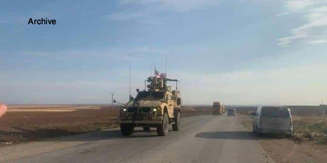 US occupation brings in a new convoy of vehicles to Syrian al- Jazeera