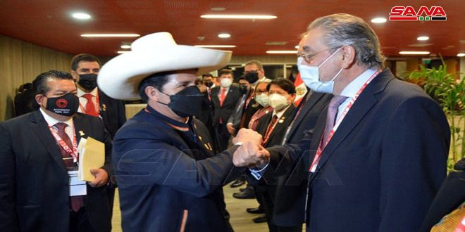 Syria's ambassador in Caracas participates in the inauguration ceremony of the  president-elect of Peru